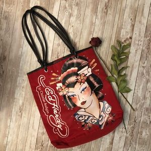 Ed Hardy red tote bag